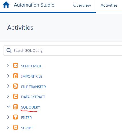 SQLQuery Marketing Cloud